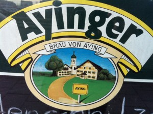 Ayinger at a bar in Munich
