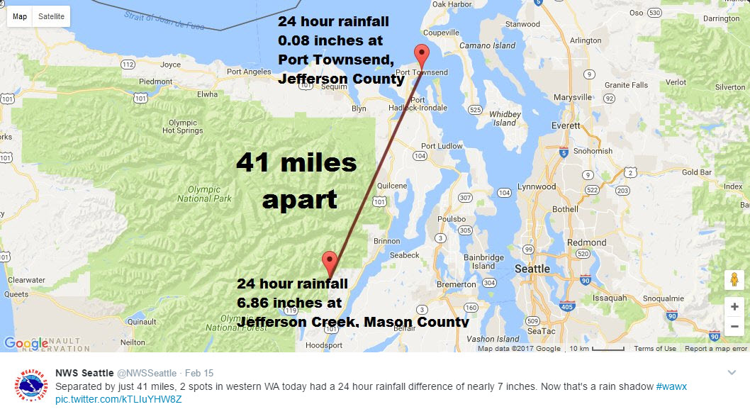check out this interesting map showing the rain shadow here in puget sound the olympic mountains on the olympic peninsula form a barrier against the